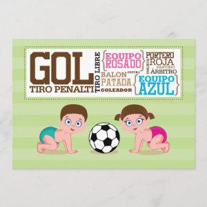 Babies Playing Soccer Gender Reveal Invitation