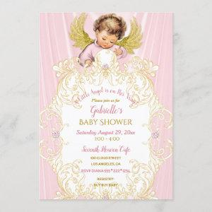 Baby Angel Pink Gold Girl Invitation