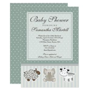 Baby Animals for Baby Shower Invitation