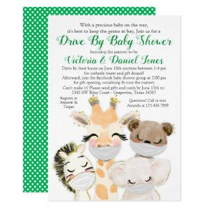 Baby Animals in Masks Drive By Baby Shower Invitation