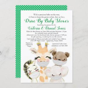 Baby Animals in Masks Drive By Covid Baby Shower Invitation