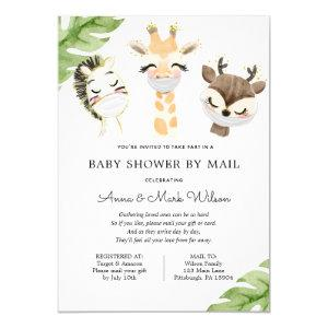 Baby Animals with Masks Baby Shower by Mail Invitation