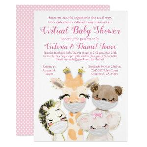 Baby Animals with Masks Drive By Baby Shower Invitation