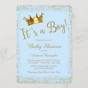 Baby Blue and Gold Baby Shower Invitation