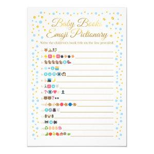 Baby Books Emoji Pictionary Game Blue and Gold Invitation