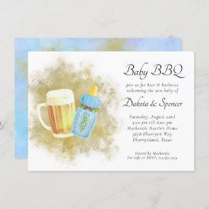 Baby Boy BBQ and Beer | Blue Summer Outdoor Shower Invitation