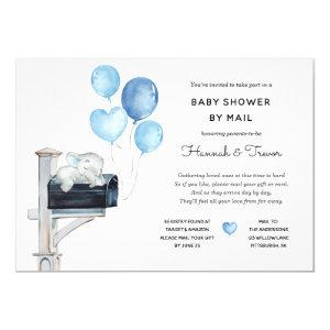 Baby Boy Elephant on Mailbox Shower by Mail Invitation
