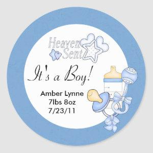 Baby Boy Heaven Sent Customizable Stickers