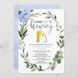 Baby Boy is Brewing greenery couples baby shower Invitation