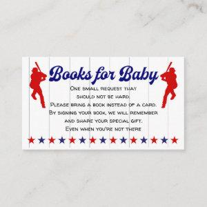 Baby Boy Shower, Baseball, Books for baby Enclosure Card
