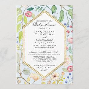 Baby Boy Shower Dusty Blue Watercolor Rose Floral