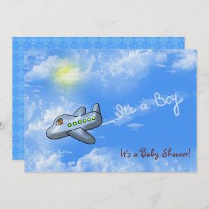 Baby Boy Shower with airplane Invitation