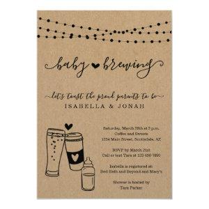 Baby Brewing Couple's Gender Neutral Baby Shower Invitation