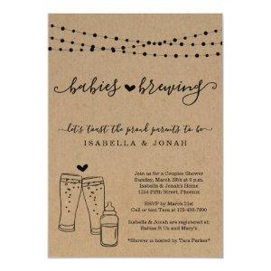 Baby Brewing Couple's Twins Baby Shower Invitation