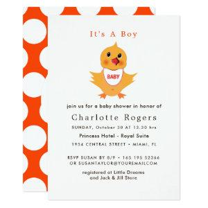 Baby Chicken Yellow Chick Cute Baby Shower Invitation