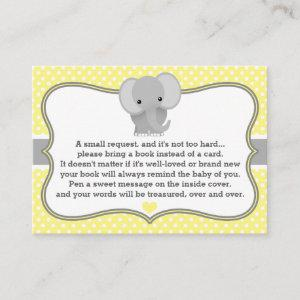Baby Elephant Baby Shower Book Request Card