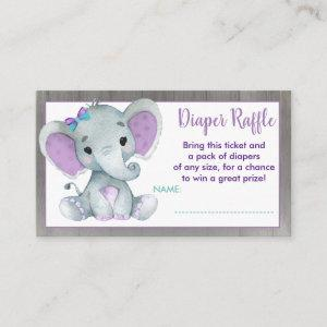 Baby Elephant diaper raffle ticket Purple Teal Enclosure Card