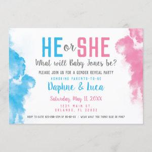 Baby Gender Reveal Smoke Bomb Blue and Pink Party