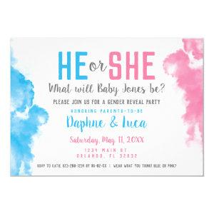Baby Gender Reveal Smoke Bomb Blue and Pink Party Invitation