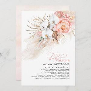 Baby Girl Baby Shower Pink Floral Pampas Grass