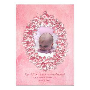 Baby Girl Birth Announcement, Pink, photo/name Invitation