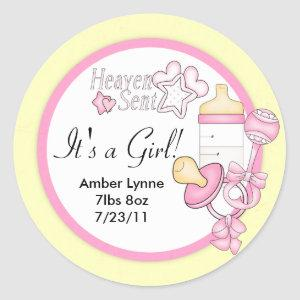 Baby Girl Heaven Sent Customizable Stickers
