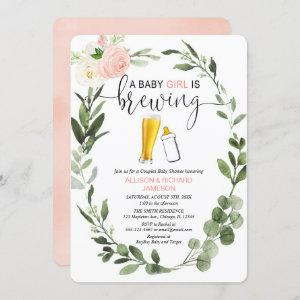 Baby Girl is Brewing greenery couples baby shower