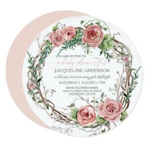 Baby Girl Shower BOHO Watercolor Flower Wreath Invitation