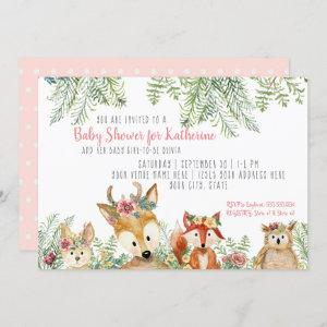 Baby Girl Shower Woodland Animals Boho Deer n Fox Invitation