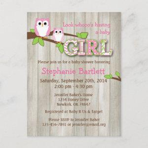 Baby Girl White Owl Shower Postcard