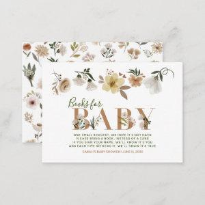 Baby in Bloom Baby Shower Boho Book Request Enclosure Card