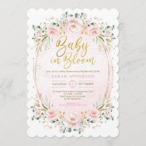 Baby in Bloom Blush Gold Pink Floral Girl Shower Invitation