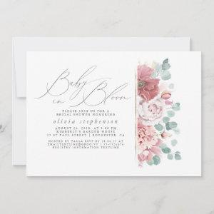 Baby in Bloom Dusty Pink Flowers Baby Shower