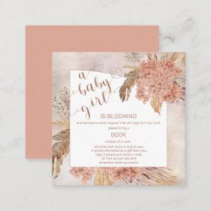 Baby in Bloom Pampas Grass Hydrangea Book Request  Enclosure Card