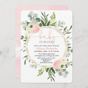 Baby in bloom pink gold greenery girl baby shower  invitation