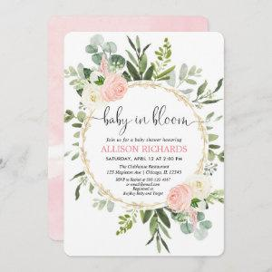Baby in bloom pink gold greenery girl baby shower