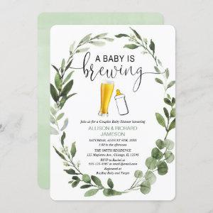 Baby is Brewing greenery couples baby shower