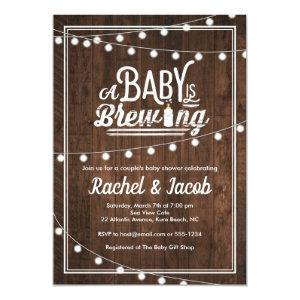 Baby is Brewing Rustic Baby Shower Invitation
