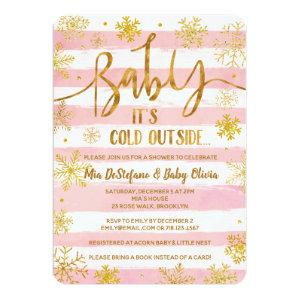 Baby It's Cold Outside Baby Shower Invitation Pink