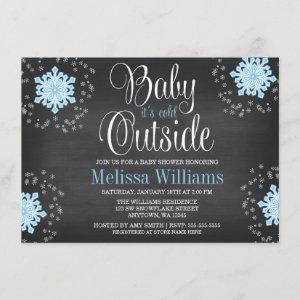Baby It's Cold Outside Blue Snowflakes Baby Shower Invitation