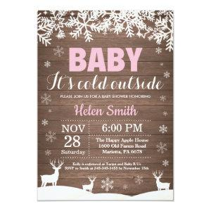 Baby its Cold Outside Deer Winter Girl Baby Shower Invitation