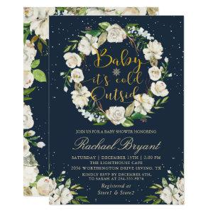 Baby Its Cold Outside Floral Navy Blue Baby Shower Invitation