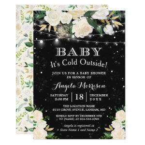 Baby It's Cold Outside Floral Winter Baby Shower Invitation