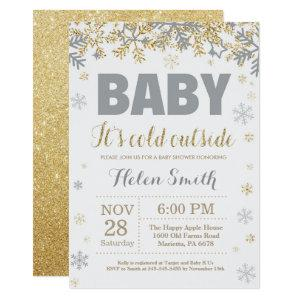 Baby its Cold Outside Gold and Gray Baby Shower Invitation