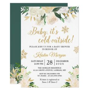 Baby Its Cold Outside Gold Floral Baby Shower Invitation