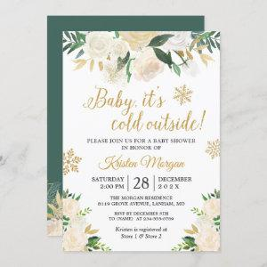 Baby Its Cold Outside Gold Floral Baby Shower