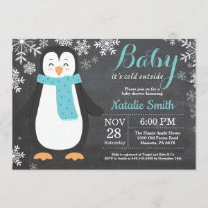 Baby its Cold Outside Penguin Aqua Baby Shower