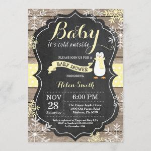 Baby its Cold Outside penguin Baby Shower Invitation
