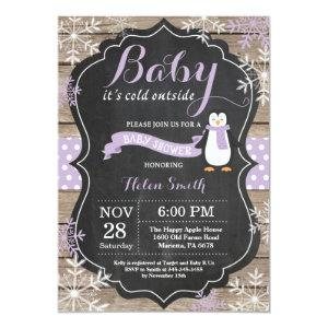 Baby its Cold Outside Penguin Girl Baby Shower Invitation