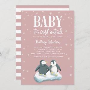 Baby Its Cold Outside Pink Penguins Baby Shower